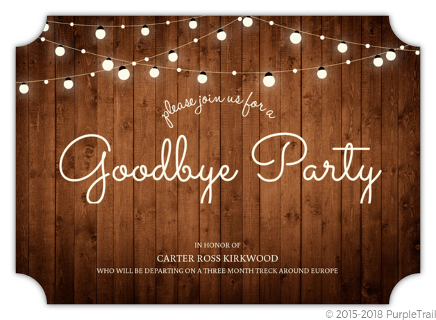 Rustic Wood And Lights Farewell Party Invitation