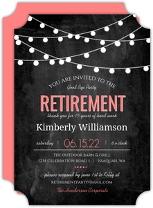 Modern Chalkboard Lights Retirement Invitation