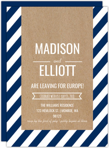 Navy Stripes And Kraft Paper Going Away Party Invite