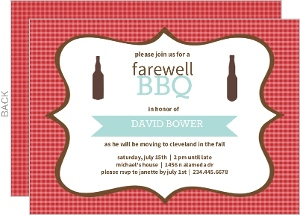 Checkered Backyard Bbq Farewell Party Invite