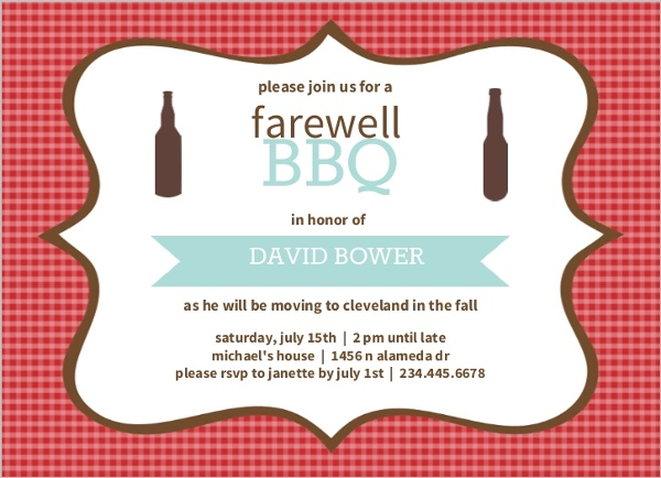 Going away party invitations and going away invitations checkered backyard bbq farewell party invite stopboris Choice Image