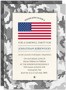 Camo Military Going Away Party Invitation