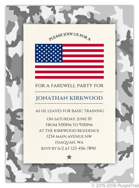 camo military going away party invitation going away party invitations