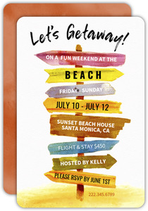 Wood Signs Getaway Trip Invitation