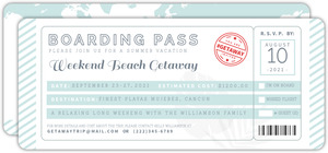 Tropical Destination Boarding Pass Getaway Invitation