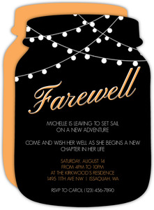 Hanging Lights Jar Farewell Party Invitation