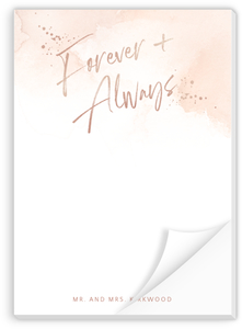 Faux Rose Gold Foil Forever & Always Custom Notepad