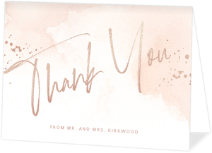 Faux Rose Gold Foil Watercolor Thank You Card