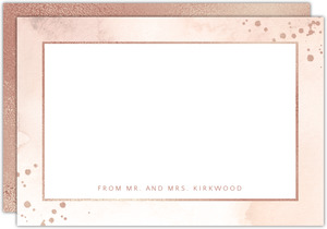 Faux Rose Gold Foil Watercolor Notecard