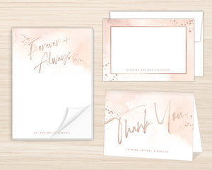Faux Rose Gold Foil Forever & Always Stationery Set