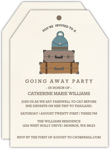 Stacked Luggage Tag Going Away Party Invitation
