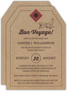 Bon Voyage Luggage Tag Farewell Invitation