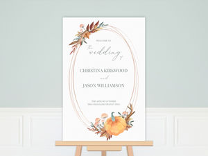 Faux Rose Gold Pumpkin Frame Wedding Poster