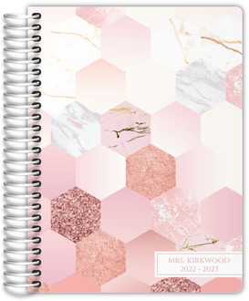 Marble Glitter Hexagon Pattern Teacher Planner