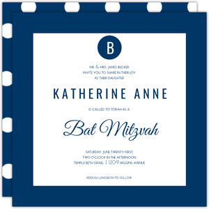 Simple Polka Dot Monogram Bat Mitzvah Invitation