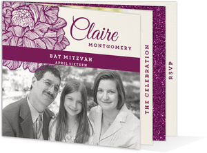 Shimmering Plum Florals Booklet Bar Mitzvah Invitation