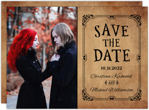 Rustic Elegant Black Halloween Save The Date