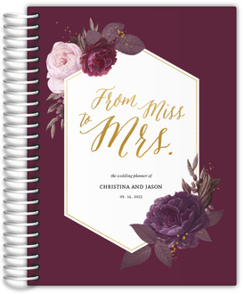 Burgundy Floral Geometric Frame Wedding Planner