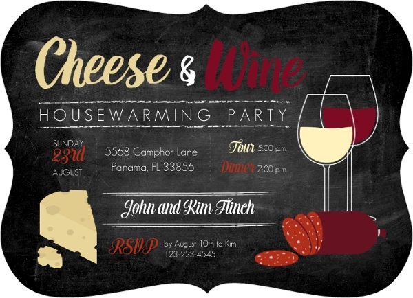 Cheese And Wine Housewarming Party Invitation ...
