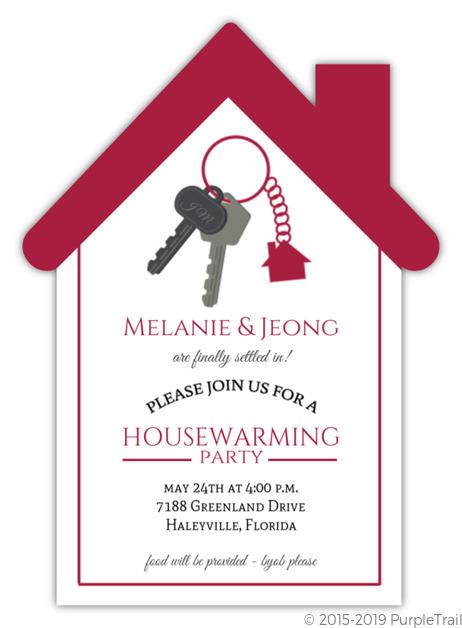 cute house keychain housewarming invitation housewarming invitations. Black Bedroom Furniture Sets. Home Design Ideas