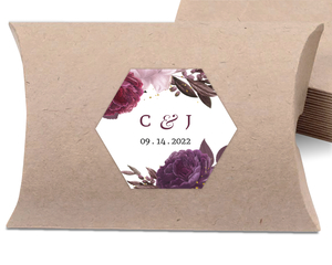 Burgundy Floral Geometric Frame Favor Label