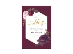 Burgundy Floral Geometric Frame Wedding Poster