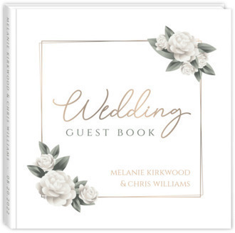 Elegant White Roses Wedding Guest Book