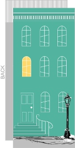 Turquoise Apartment Building Housewarming Invitation