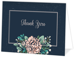Vintage Pink Peony Thank You Card