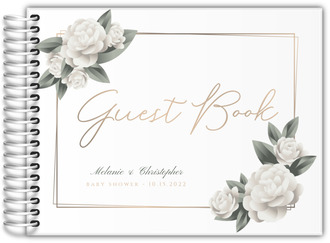 Elegant White Roses Baby Shower Guest Book