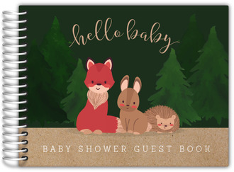 Kraft Paper Woodland Creatures Baby Shower Guest Book
