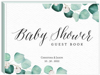Elegant Silver Dollar Baby Shower Guest Book