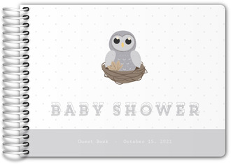 Grey Owl On Nest Owl Baby Shower Guest Book