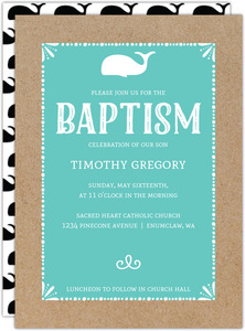 Baby Whale Baptism Invitation