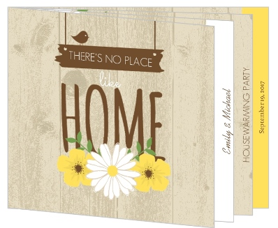 Brown Country Floral Housewarming Invitation Booklet Housewarming