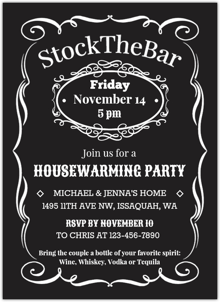 Vintage Stock The Bar Housewarming Party Invitation Housewarming
