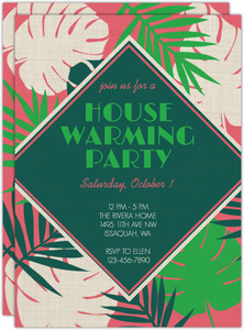 Bright Tropical Leaves Housewarming Party Invitation
