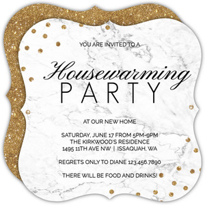 White Marble And Glitter Housewarming Invite