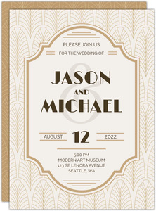 Modern Vintage Gay Wedding Invitation
