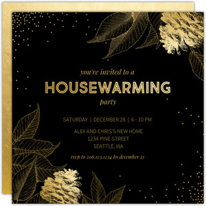 Faux Gold Foil Leaves and Pinecones Housewarming Invitation