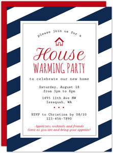 Red Roof House Printable Housewarming Party Invitation