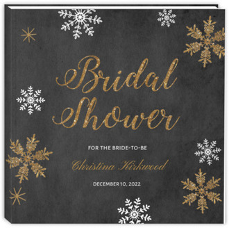 Sparkling Gold Snowflakes Bridal Shower Guest Book