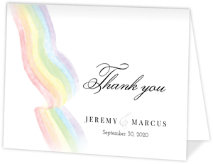 Elegant Rainbow Gay Wedding Thank You Card