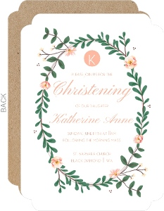 Pink Floral Christening Invitation