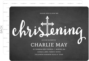 Holy Cross Chalkboard Christening Invitation