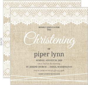 Vintage Burlap Lace Christening Invitation