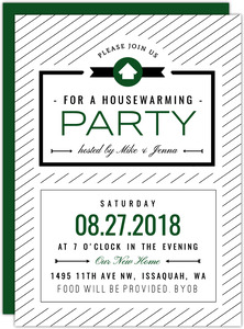 Modern Stripe Pattern Housewarming Party Invitation