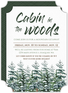 Winter Pine Trees Getaway Invitation