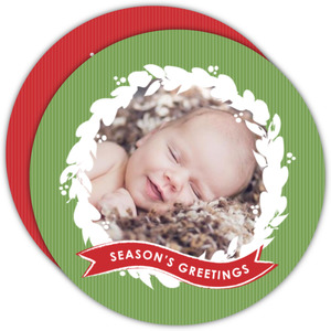 Red and Green Wreath Cricle Holiday Birth Announcement