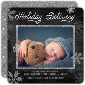Holiday Delivery Photo Birth Announcement